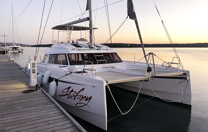 Arrival of Stefany catamaran in Punat