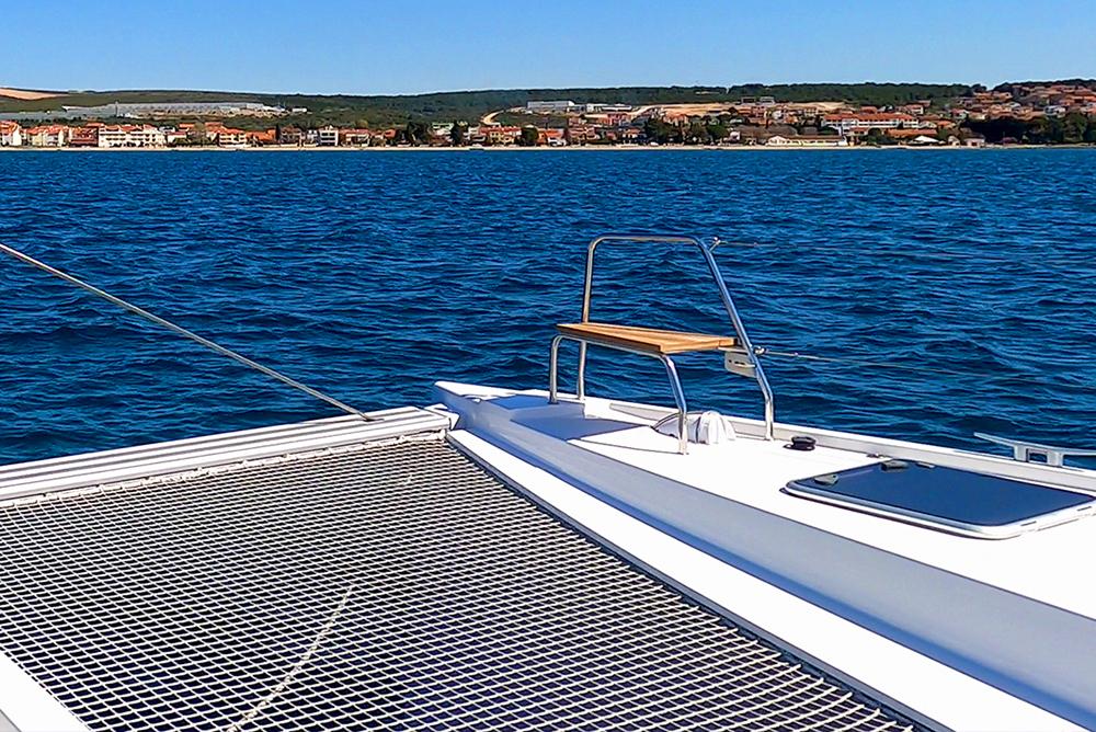 catamaran charter sunbathing area